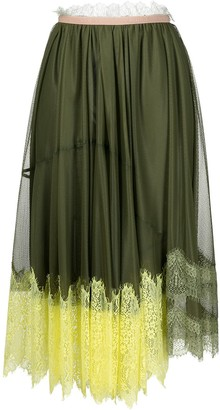 Pinko Lace-Trimmed Mesh Skirt