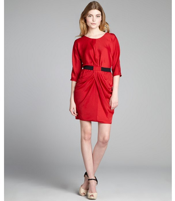 BCBGMAXAZRIA new red woven 'Iselin' pleated dress