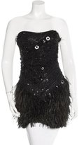 Marchesa Silk Feather-Trimmed Tunic