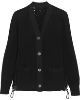 Sacai Cotton And Broderie Anglaise Cardigan - Black