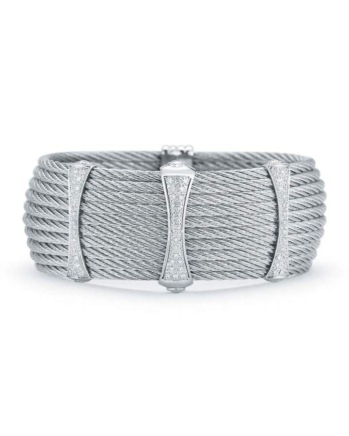 Alor 10-Row Cable Cuff Bracelet w/ Pave Diamond Stations, Gray