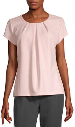 Liz Claiborne Womens Round Neck Short Sleeve Blouse