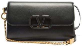 Valentino V-sling Leather Shoulder Bag - Black