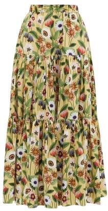 Borgo de Nor Billie Floral-print Cotton-poplin Maxi Skirt - Womens - Yellow Multi