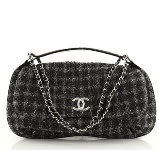 Chanel CC Flap Satchel Quilted Tweed Large