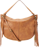 Cognac Flowing Fringe-Accent Hobo