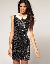 Sequin Dress With Sequin Peter Pan Collar