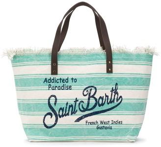 MC2 Saint Barth Striped Logo Print Beach Bag