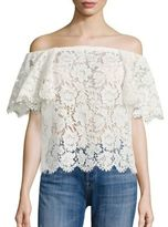 Valentino Heavy Lace Off-The-Shoulder Top
