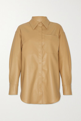 Frankie Shop Yoyo Oversized Faux Leather Shirt - Tan
