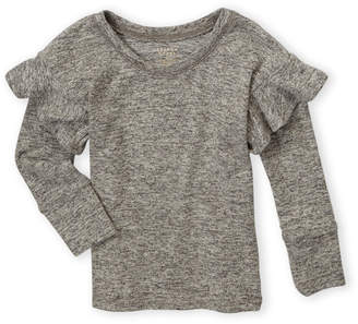 French Toast (Toddler Girls) Hacci Ruffle Long Sleeve Top