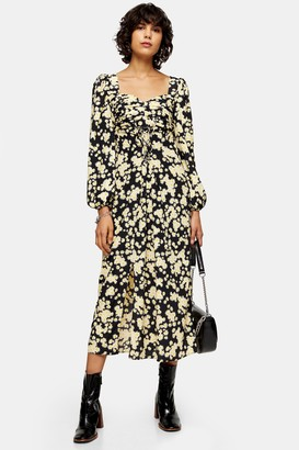 Topshop Daisy Print Pleated Bust Midi Dress