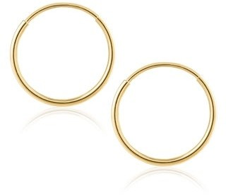 14K Gold Endless Hoop Earrings 1-1.5mm Thick 10mm-60mm Diameters - Yellow Gold - Yellow Gold