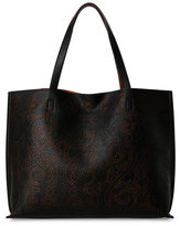 Street Level Black & Cognac Calligraphy Reversible Tote