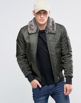 SikSilk Bomber Jacket With Faux Fur Collar