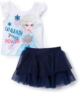 Children's Apparel Network White 'Unleash' Frozen Tank & Navy Pin Dot Skort - Toddler