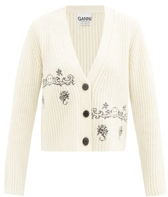 Ganni Smiling Face-embroidered Wool-blend Cardigan - Cream