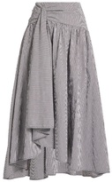 Rosie Assoulin Asymmetric-hem gingham stretch-cotton skirt
