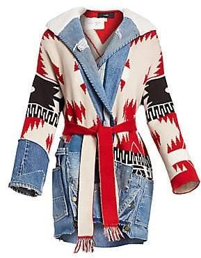 86fc5bb7d3d1 Alanui Women's Icon Patch Faux Shearling Collar Knit Cashmere-Blend Coat