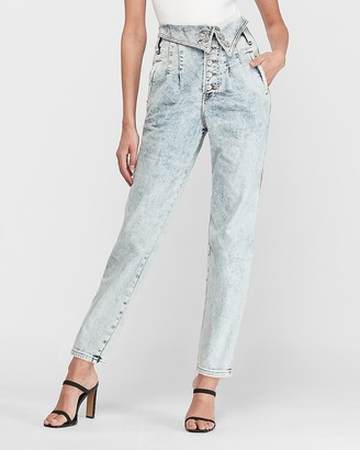 Express Super High Waisted Acid Wash Fold-Over Straight Jeans
