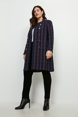 Karen Millen Curve Italian Tweed Double Breasted Coat