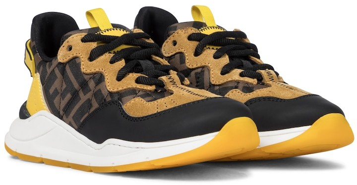 Fendi Kids FF suede and leather-trimmed sneakers