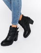 London Rebel Multi Strap Chunky Heeled Ankle Boots