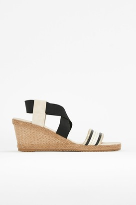 Wallis **WIDE FIT Black Elastic Wedge