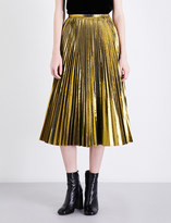 Mo&Co. Golden pleated metallic midi skirt
