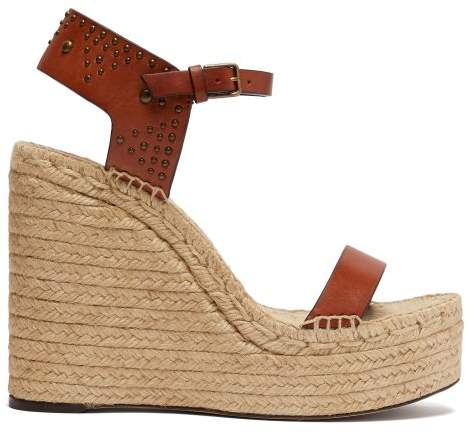 Saint Laurent Studded Espadrille Wedge Sandals - Womens - Tan