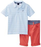 Nautica 2-Piece Striped Polo & Cuffed Short Set (Toddler Boys)