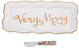Mud Pie Holiday Very Merry Scalloped Hostess Tray with Spreader