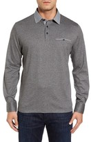 Thomas Dean Men's Long Sleeve Woven Trim Polo