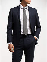 John Lewis Wool Check Tailored Suit Jacket, Navy