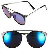 BP Women's 55Mm Oversize Mirrored Sunglasses - Black/ Blue