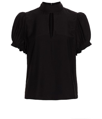 Frame Pleated Puff-Sleeve Silk Mockneck Top