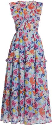 Banjanan Iris Smocked Printed Organic Cotton Midi Dress