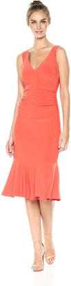 Laundry by Shelli Segal Women's Strappy Jersey Midi Cocktail with Flounce Hem