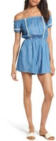 Lush Women's Chambray Off The Shoulder Romper