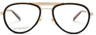 Givenchy Aviator Acetate And Metal Glasses - Womens - Black Gold