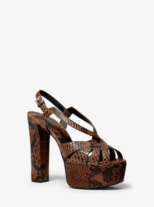 Michael Kors Candace Python-Embossed Leather Platform Sandal