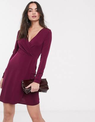 French Connection slinky wrap long sleeved dress-Purple