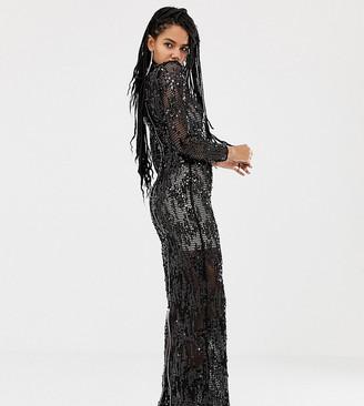 Asos Design DESIGN x LaQuan Smith funnel neck embellished maxi dress-Black