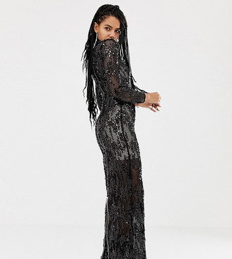 Asos DESIGN x LaQuan Smith funnel neck embellished maxi dress