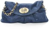 Carla Mancini Navy Shimmer Leather Clutch