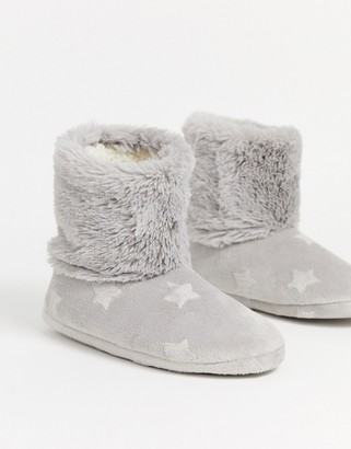Hunkemoller embossed star slipper boot in grey