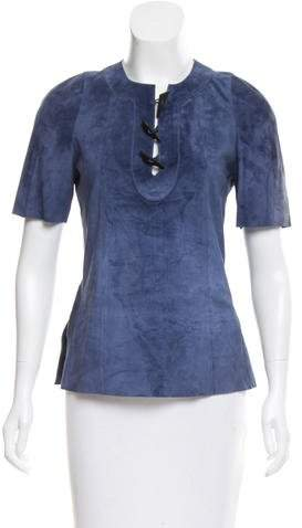 Derek Lam Suede Short Sleeve Top w/ Tags