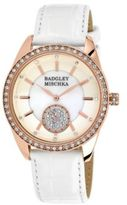 Badgley Mischka Ladies Rose Goldtone Crystal Watch with White Leather Strap