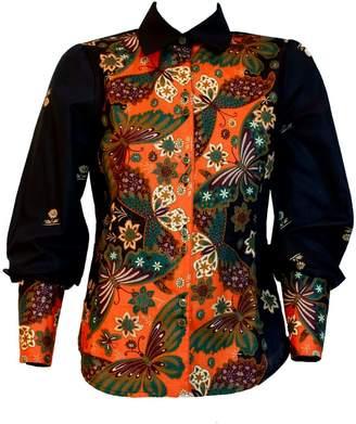 Relax Baby Be Cool Java Hokokai Womens Long Sleeve Button Up Shirt