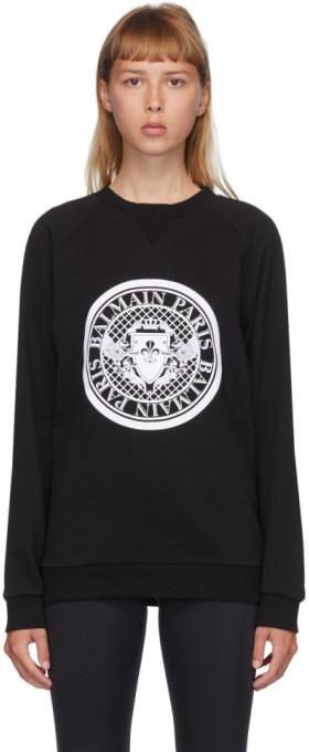 Balmain Black and White Flocked Medallion Sweatshirt